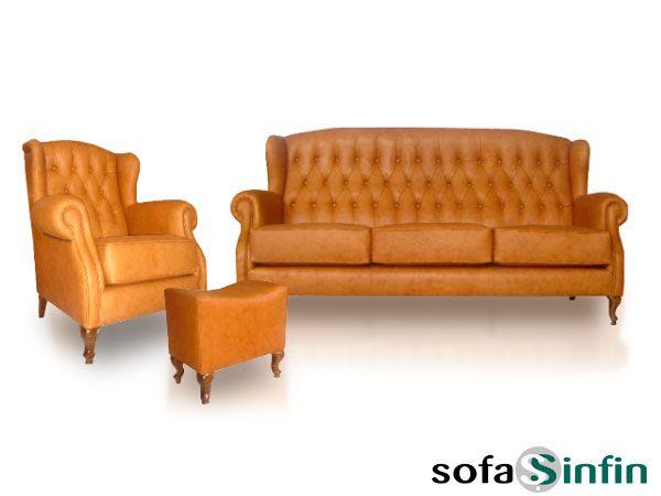 Sofá clásico de 3 y 2 plazas modelo Mini Capitoné fabricado por De Paula en Sofassinfin.es