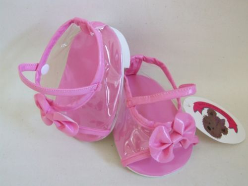 """Build a Bear fit 14-16"""" Teddy Bear Clothes Candy Pink Bow Shoes for teddies"""