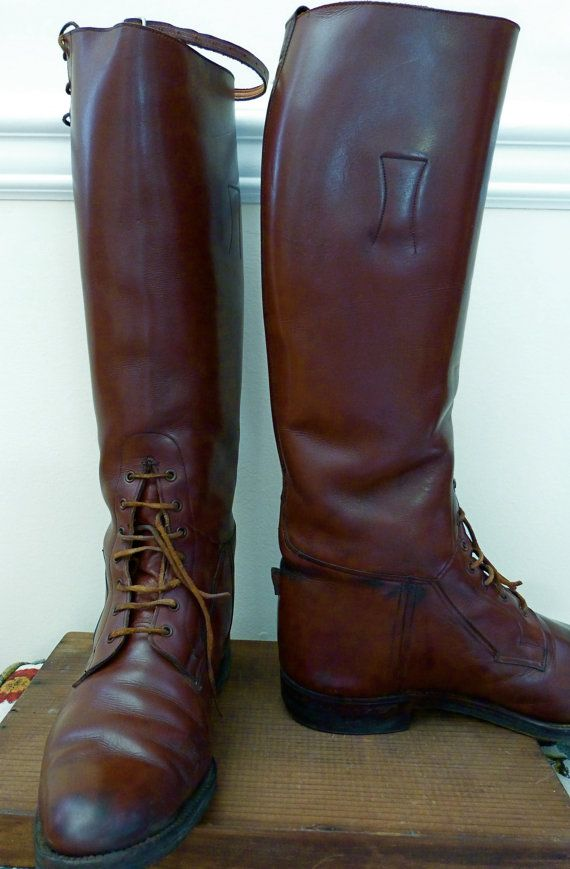 Antique Equestrian English Riding Boots Leather