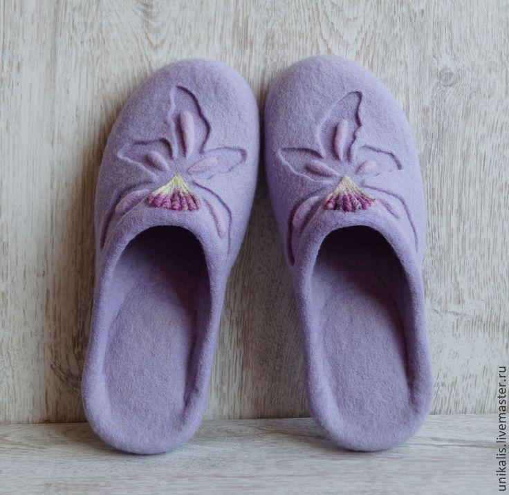 """Валяные тапочки """"Lavender Orchid"""" - бледно-сиреневый,лавандовый цвет,валяные тапочки"""