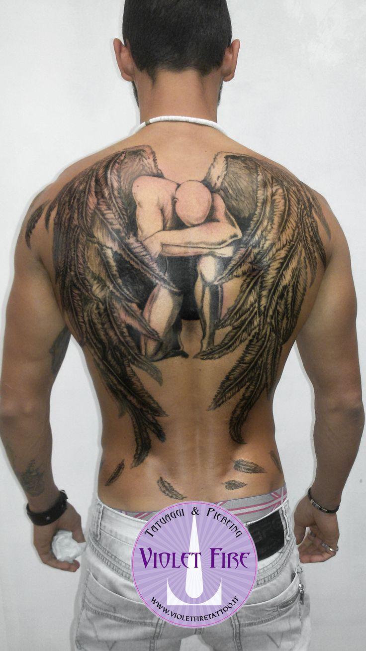 tatuaggio fantasy, tatuaggio grande, tatuaggio artistico - tatuaggio angelo in ginocchio - grande su schiena - Violet Fire Tattoo - tatuaggi maranello, tatuaggi modena, tatuaggi sassuolo, tatuaggi fiorano - Adam Raia