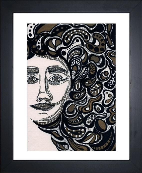Medusa, Abstract Drawing - Ink on watercolor paper