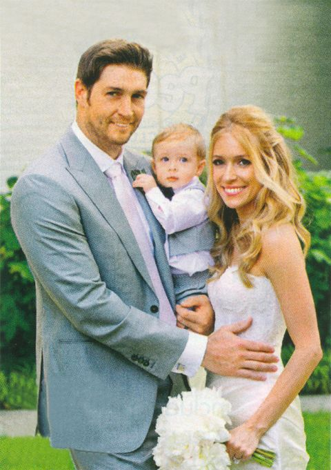 Kristin Cavallari and Jay Cutler with a baby in hand
