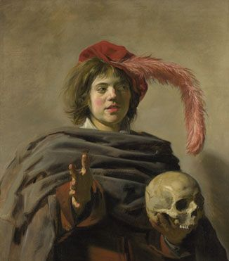 Young Man holding a Skull (Vanitas)  1626-8, Frans Hals - This painting is not a portrait. The skull held by the boy is a reminder of the transience of life and the certainty of death. Such a subject is known as a 'Vanitas' (Latin for vanity), a name derived from a verse in the Old Testament (Ecclesiastes 12: 8), 'Vanity of vanities, saith the preacher, all is vanity.The Netherlandish tradition of showing young boys holding skulls is well-established