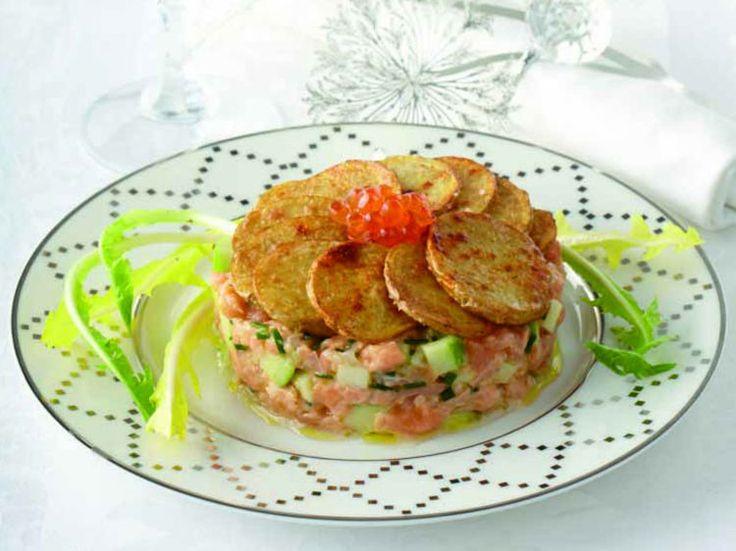 Avec les lectrices reporter de Femme Actuelle, découvrez les recettes de cuisine des internautes : Ratte du Touquet aux trois états de saumon