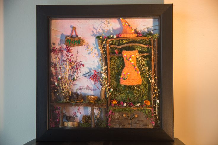 "Frame with bits and bobs from nature including a poppy seed head, acorn casing, contorted witch hazel and dried flowers.  A very special gift for Christmas for a little girl.  This piece is called ""Autumn Home Collection"". http://etsy.me/2eaB4pO"