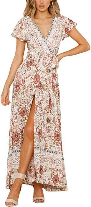97f644f71cd70c ECOWISH Damen Kleider Boho Sommerkleid V-Ausschnitt Maxikleid Kurzarm  Strandkleid Lang mit Schlitz Schwarz Blau