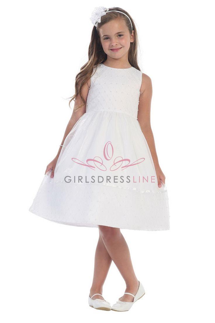 White Sleeveless Lattice Bodice with Pearls Flower Girl Dress T5494-WH T5494-WH $56.95 on www.GirlsDressLine.Com