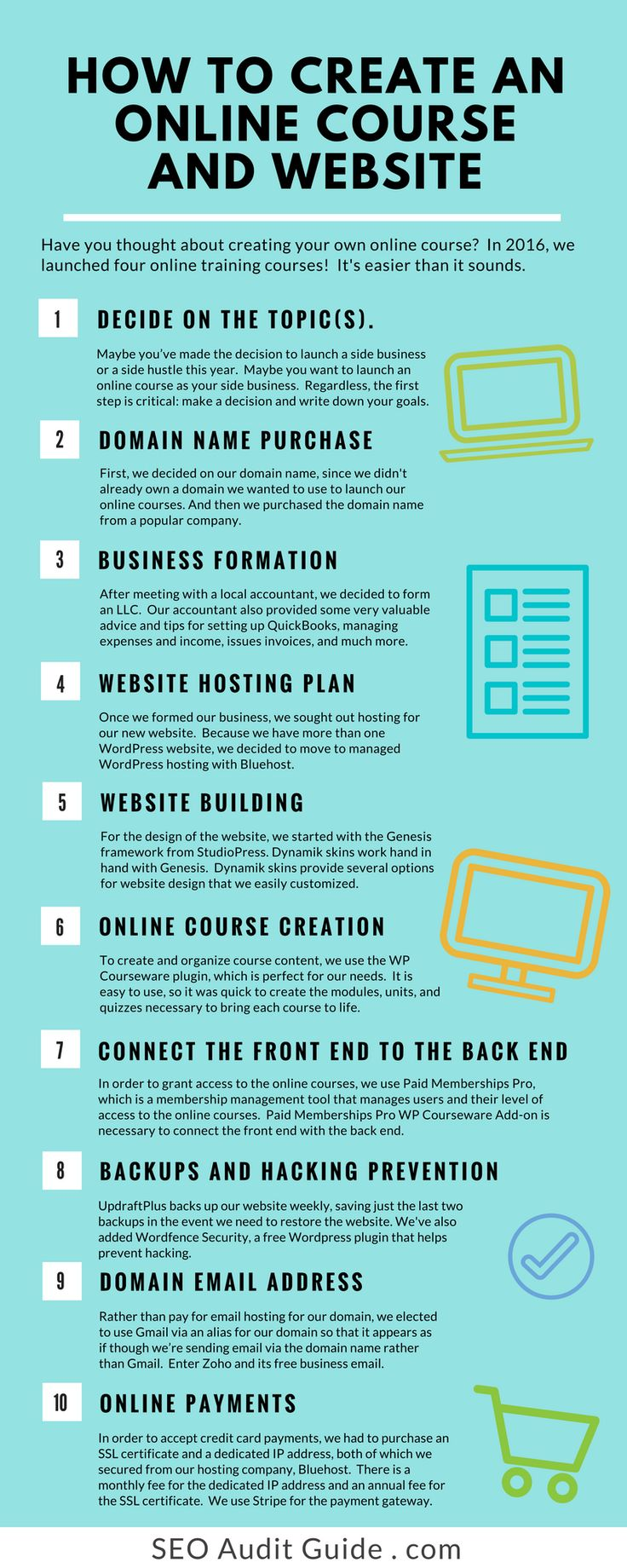 If you're ready to create an online course on your own domain, rather than using a service like Udemy or Teachable, we'll take you through the series of steps that we used to create our website, create our first SEO course, and launch from our own platform.  We outline all of the components we use and recommend for building a website.