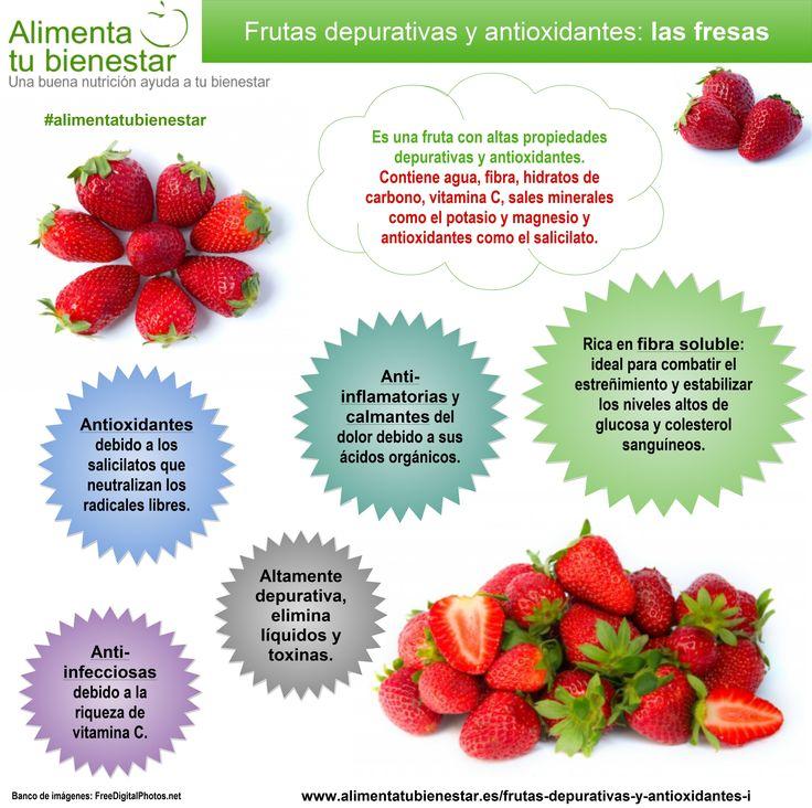 Frutas depurativas y antioxidantes: las fresas #alimentatubienestar #infografia