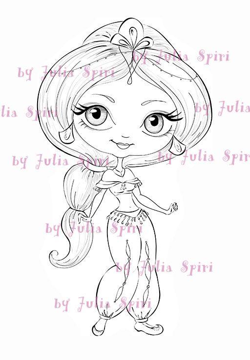 Jasmin Digi Stamps, Digital stamps, Coloring pages, Line art, Princess stamps, Printable line, Scrapbooking, Doll stamp. Princess Jasmine – WndrWorld