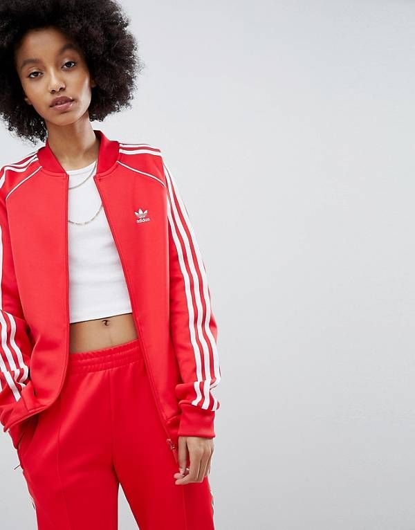 3d87f1aaf7e adidas Originals adicolor Three Stripe Track Jacket In Red | Things ...