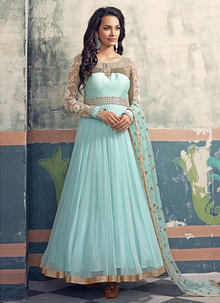 Light Blue Net Anarkali Suit