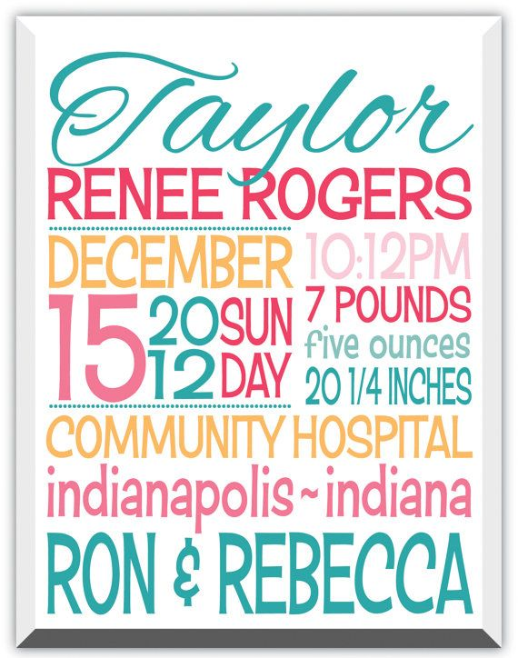 18 best Baby canvas gift images – Indiana Birth Announcements