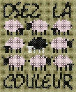 mouton - sheep - point de croix - cross stitch - Blog : http://broderiemimie44.canalblog.com/