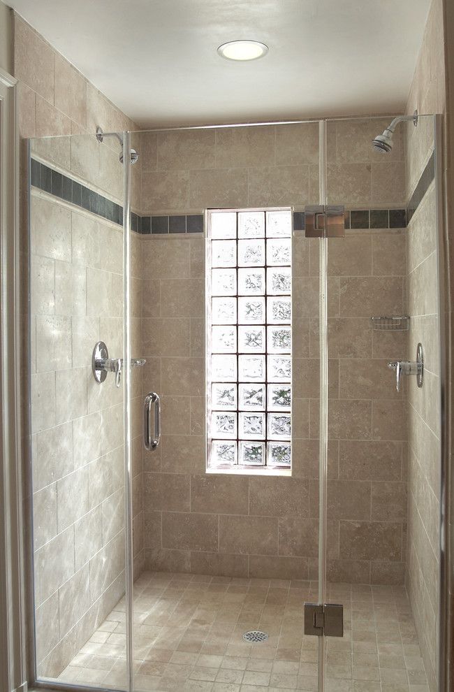glass block window in shower Bathroom Eclectic with none