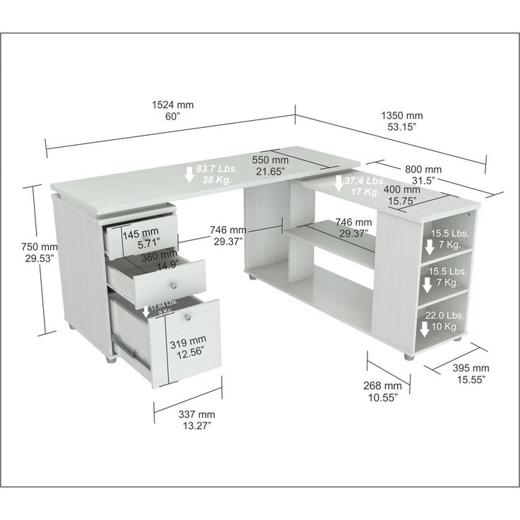 Features:  -L-desk with shelves features accessory drawers with metal slides and chrome metal handles.  -It offers an ample work space, shelves for books, dedicated CPU storage, printer space, and oth