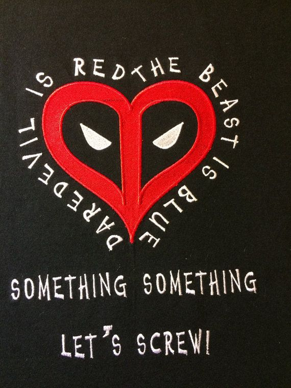 Deadpool Valentine's Day T-shirt Large by StringTheoryFabArt