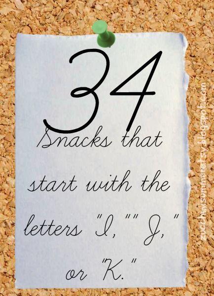 34 snacks for the letters i, j, or k   hcp   pinterest   letter i