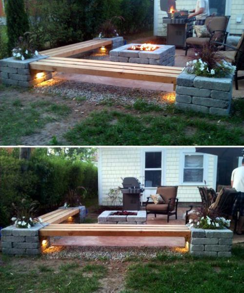 Understated Brick and Wood Fire Pit
