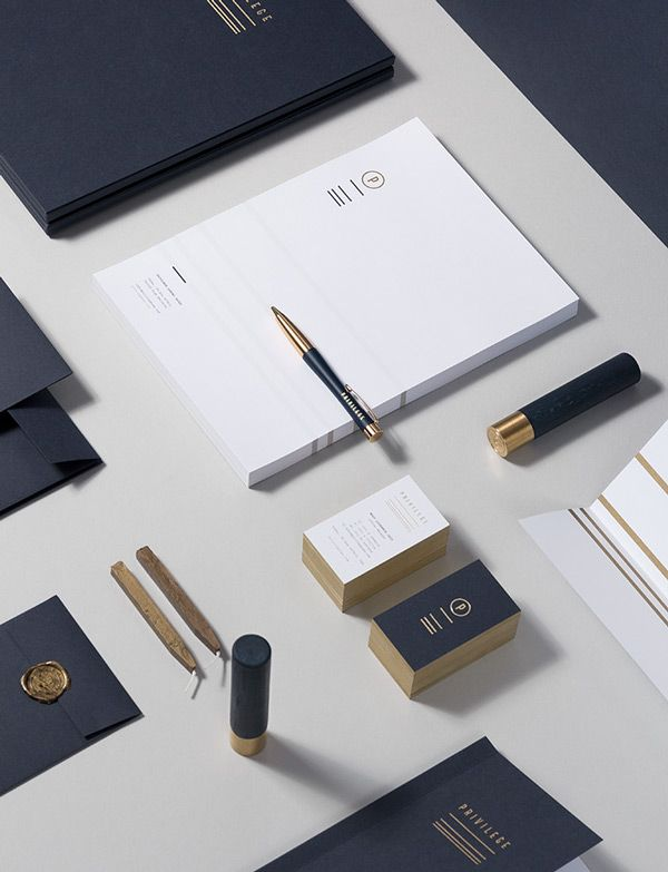 Elegant and high end. Gold could be very difficult to maintain consistency across different print mediums. Gold does not translate as cleanly to web