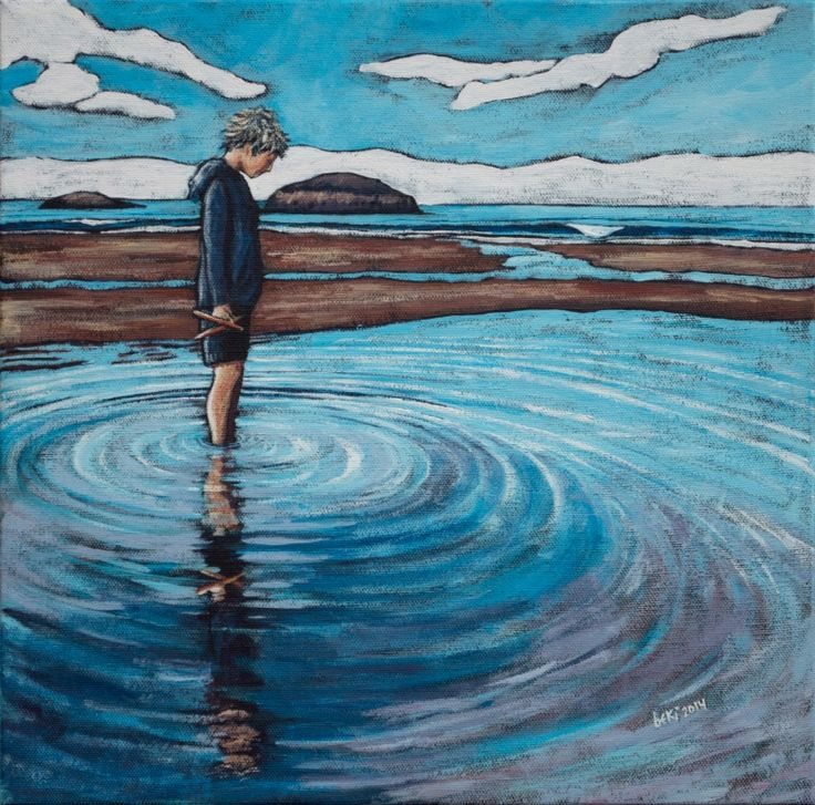 """The joy of getting your feet wet. 12""""x12"""" acrylic on canvas 2014"""