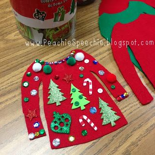 ugly sweater craft  Haha! What a good craft for kids to do as ornaments during Advent. The sticker crafts can often turn out random anyway, now it's part of the process!