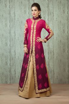W16-51- Pure raw silk shaded jacket and lehenga embellished with zari and thread work