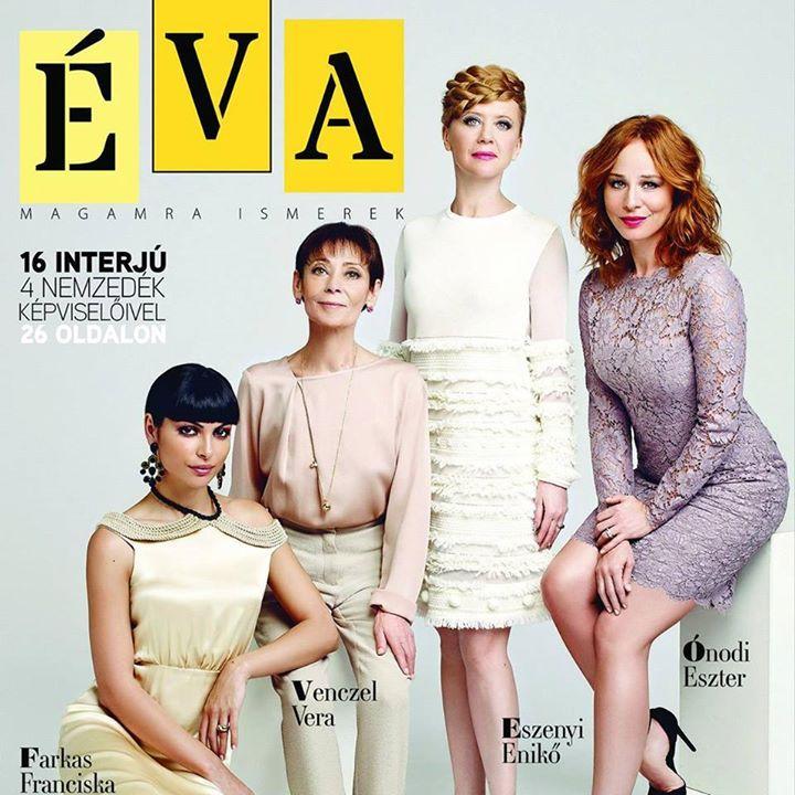 Január-februári Éva, kihajtható borító, első oldal. Farkas Franciska, Venczel Vera, Eszenyi Enikő, Ónodi Eszter