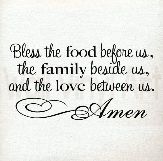 Bless this Food before us Saying Kitchen Vinyl por wallvinylart