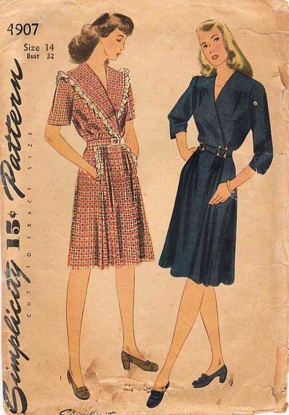 1940s eenvoud 4907 Vintage naaien patroon missers jurk, Superplie jurk maat 14 buste 32