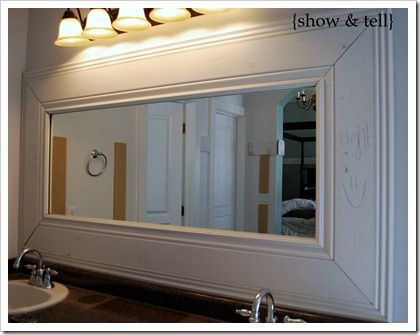 We are doing this in our bathroom... and the kids... and the guest. haha :): Bathroom Mirror Frames, Frames Bathroom, Frame Bathroom Mirrors, Framed Mirrors, Framed Bathroom Mirrors, Bathroom Ideas, House, Mirror Ideas