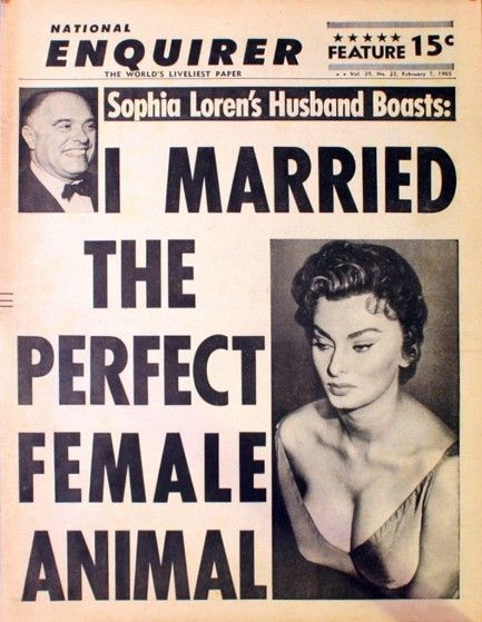 Sophia LorenPulp International, Coquet Coquette, Sophia Loren, Nationale Enquir, Enquir 1965, Keywords National Enquir, Ol Time, Pulpintern Com