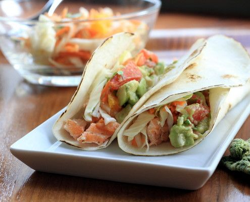 salmon tacos with avocado salsa and orange cilantro slaw...mmm.