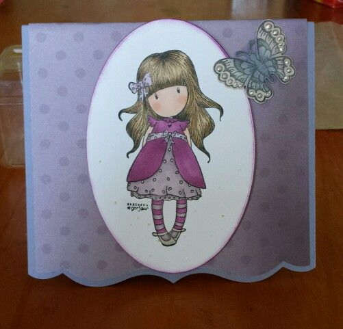 Gorjuss girls stamp and paper Stampin up Wisteria Wonder  cardstock  Heartfelt creations butterfly