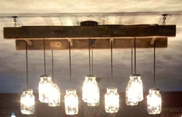 ladder light fixture | Mason Jar light fixture with old ladder