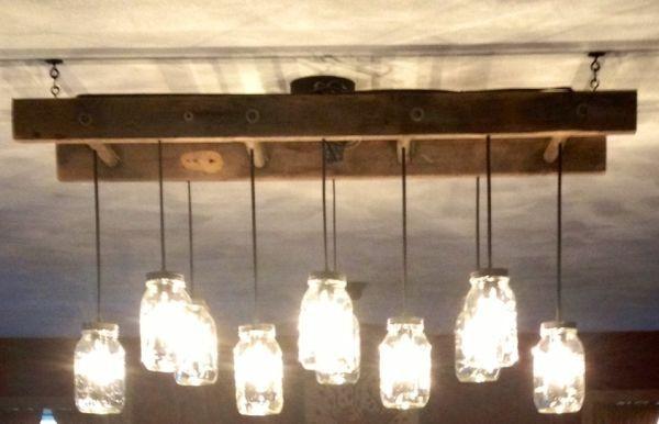 ladder light fixture | Mason Jar light fixture with old ladder