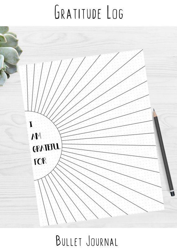gratitude log sunshine sun ray bullet journal dotted grid template