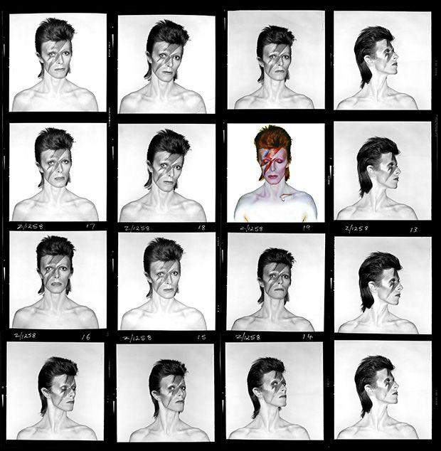 David Bowie, Aladdin Sane, Hoja de contactos. 1973 © Duffy Archive