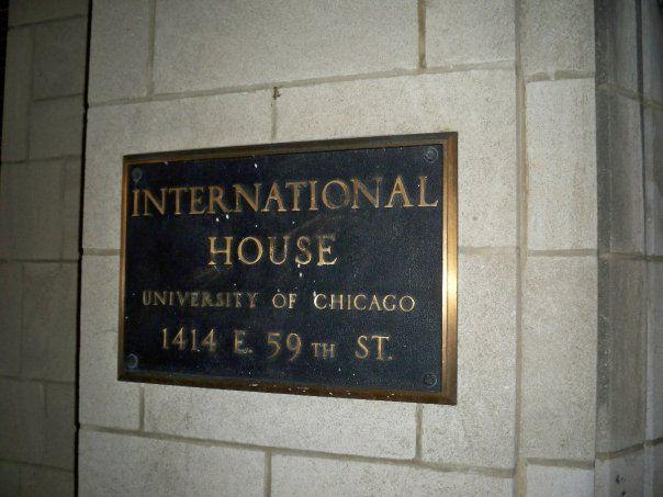 Plaque at University of Chicago's International House.