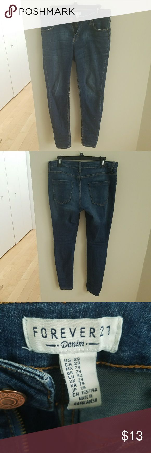 Forever 21 Skinny Jeans 29 Size 29 (I believe these fit somewhat like a women's 8-10, or a junior's 9-11). Well loved but in great condition. No rips,tears,or stains. Price firm. Final price. Forever 21 Jeans Skinny
