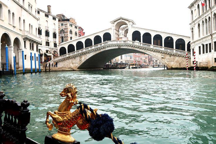 venice rialto bridge from gondola on the canal - travel photo