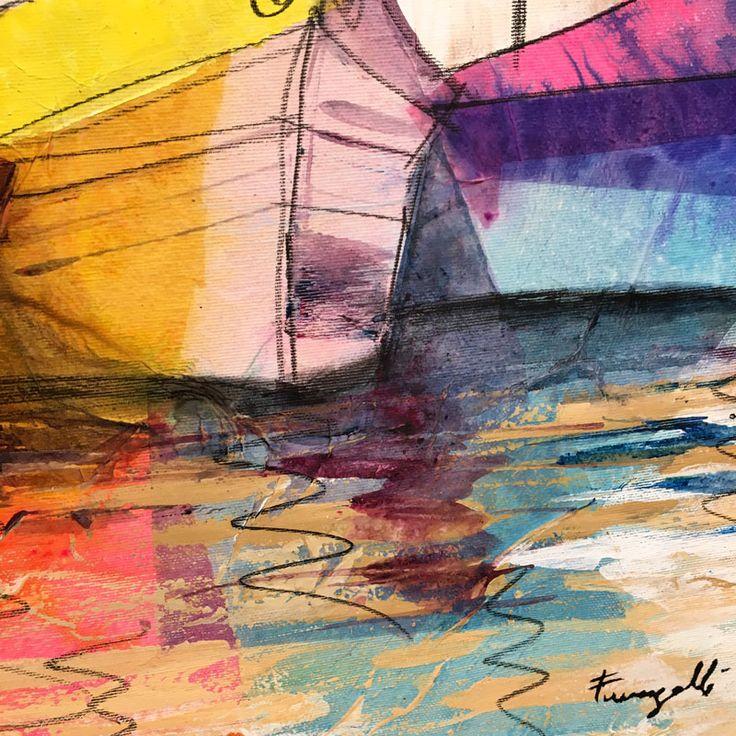 Ingrandimento fotografico sulla tecnica di pittura di Paolo Fumagalli, artista italiano
