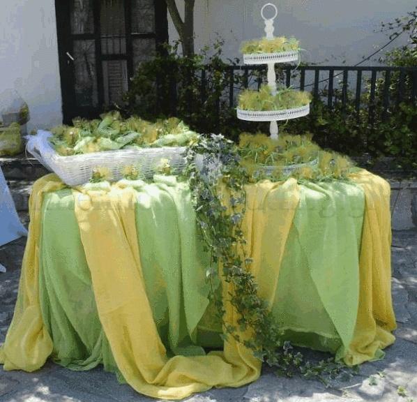 Τραπέζι με τις μπομπονιέρες τις βάπτισης έξω από την εκκλησία με διακόσμηση στη χρωματική μας παλέτα (λαχανί-κίτρινο). Οι μπομπονιέρες δεμένες με σατέν κορδελίτσα στα χρώματα που έπιλέξαμε αλλα σε λίγο διαφορετικές αποχρώσεις για να αποφύγουμε τη μονοτονία. http://batraxosprigipas.wordpress.com/