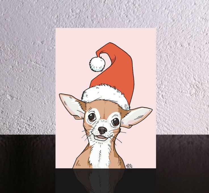 Dog Christmas Card a Chihuahua in a Santa Hat. Dog Xmas card with original chihuahua in Santa hat art by illustrator Tom Hebdon. by TomHebdon on Etsy
