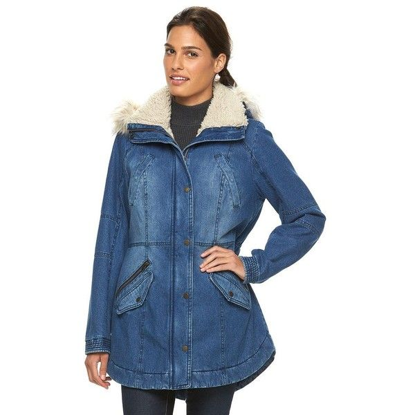 Women's Sebby Collection Hooded Anorak Denim Parka ($80) ❤ liked on Polyvore featuring outerwear, coats, blue, anorak jacket, denim anorak jacket, fur trim hooded coat, denim coat and denim parka