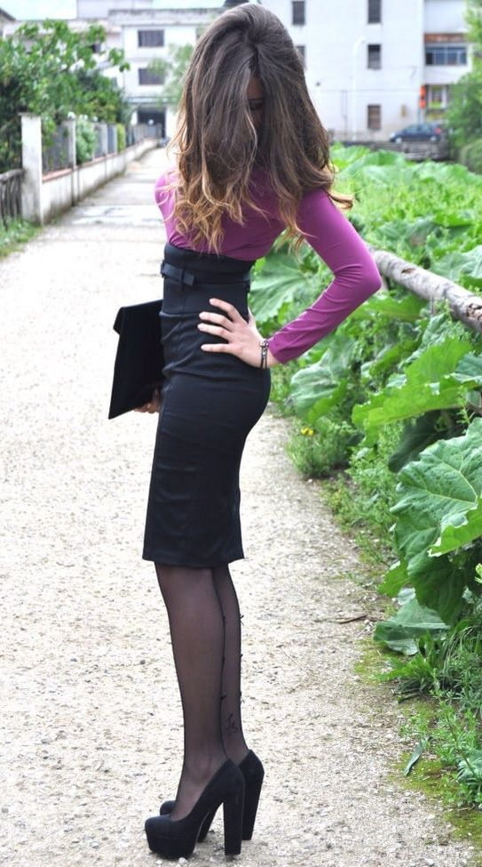 Black high heels office skirt and dress with tights on pinterest