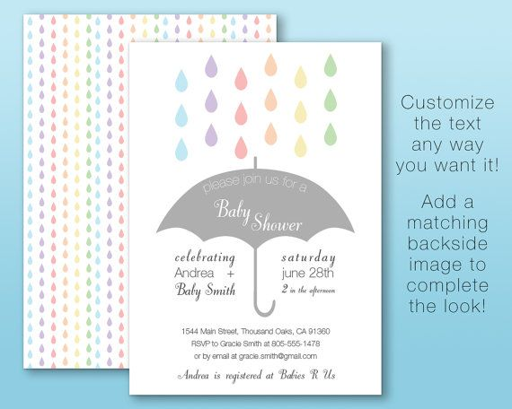 Sprinkle Rain Baby Shower Invitation Custom Digital