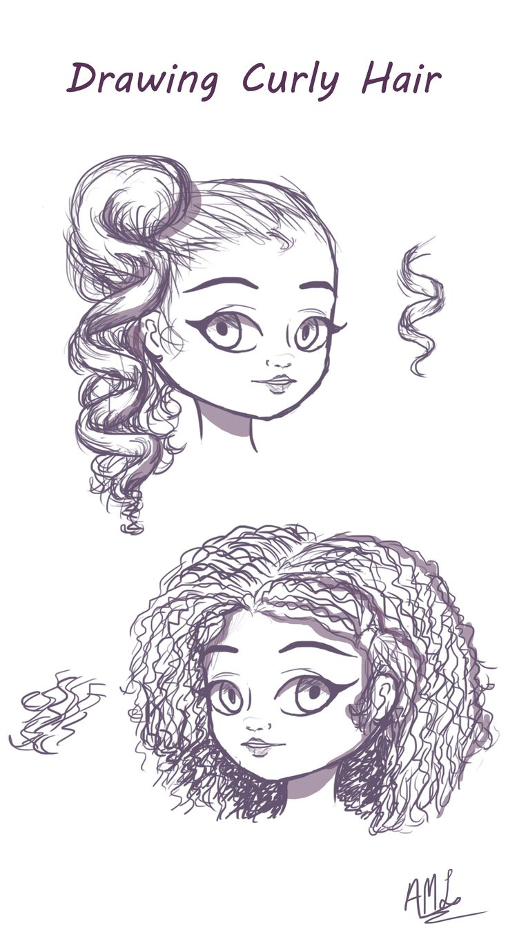 draw curly hair