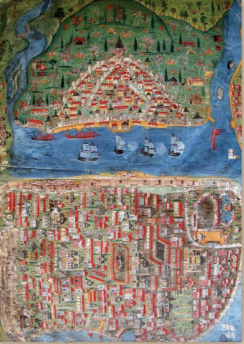 Matrakçı Nasuh'un İstanbul'u betimlediği minyatür, 1533.  #MatrakçıNasuh #İstanbul #minyatür #miniature #ottomanart